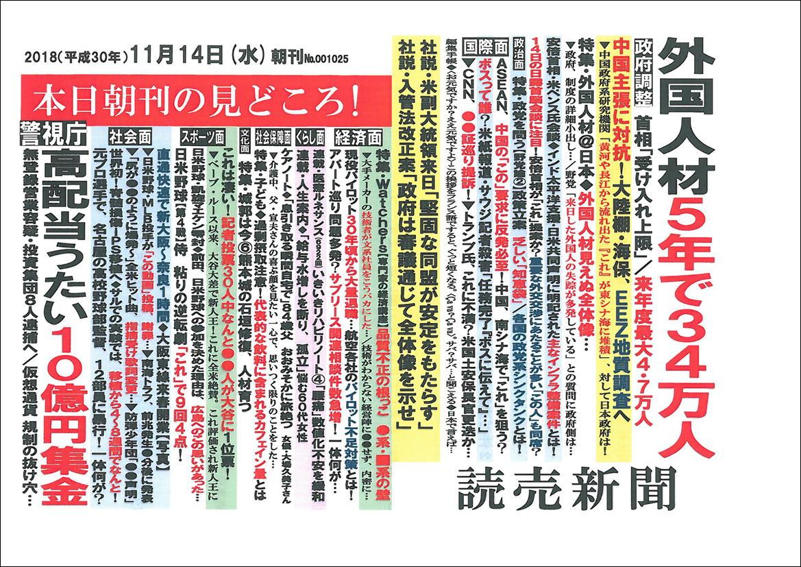 本日朝刊の見どころ